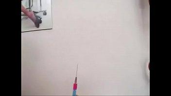 injection saline clit Schoolgirl swallows cum