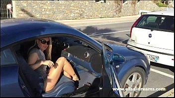 chics flashing in public uk Threesome with blondes in latex and stockings