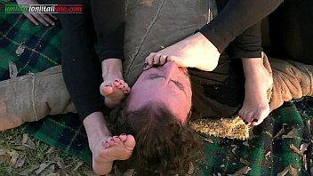 lesbian sorority foot worship Stranger sun lotion at beach